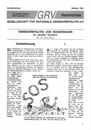 Titelblatt Sonderausgabe Oktober 1991